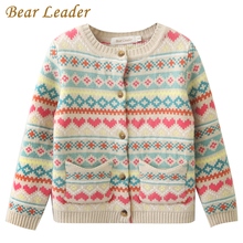 Bear Leader Girls Sweaters 2017 New Autumn&Winter Girls Clothing Long Sleeve Outerwear Love Striped Pocket Kids Knitwear(China)