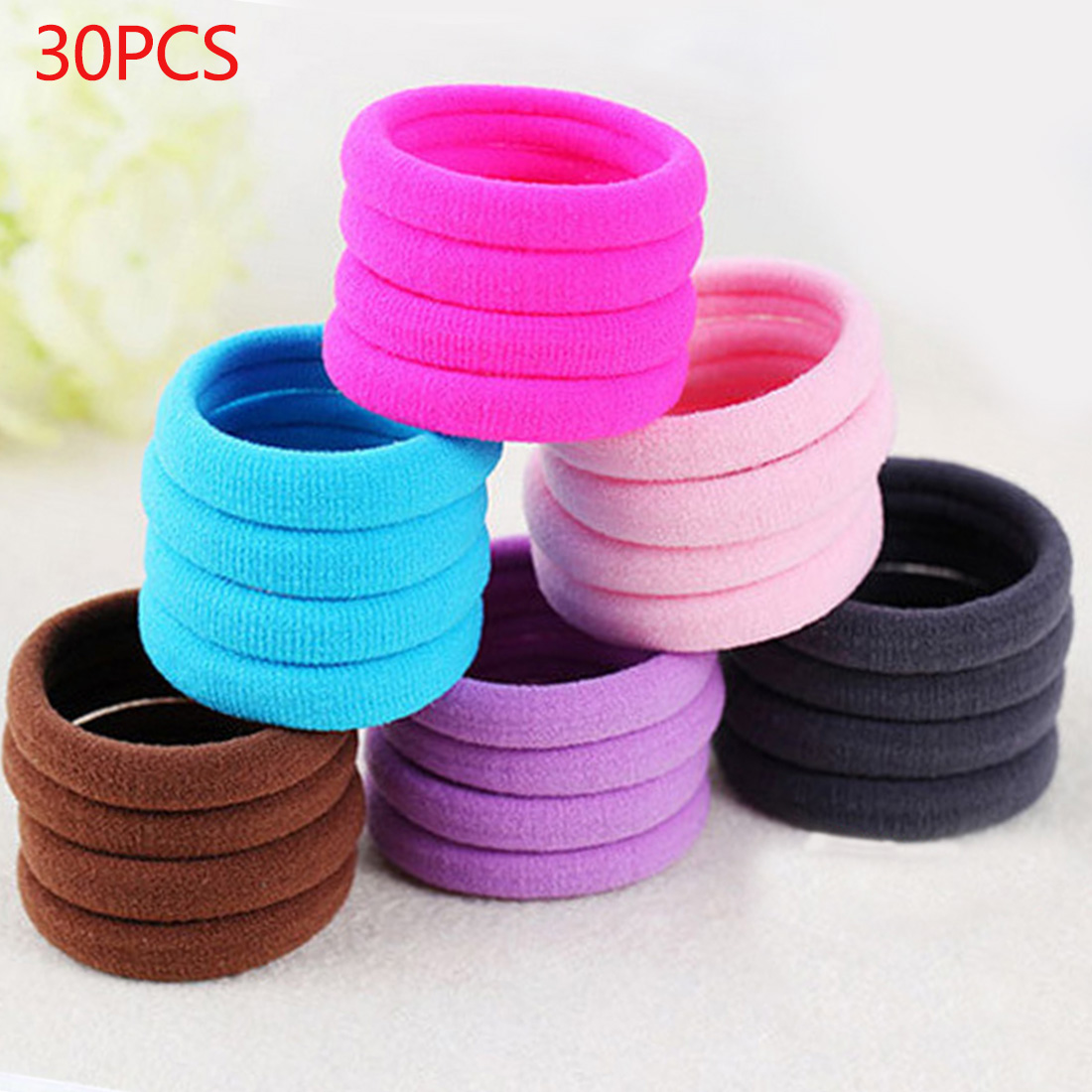 30pcs/lot Candy Color Girls Seamless Gum Elastic Ponytail Holders Rubber Rope Hair Accessories Band Girls Hair Rings