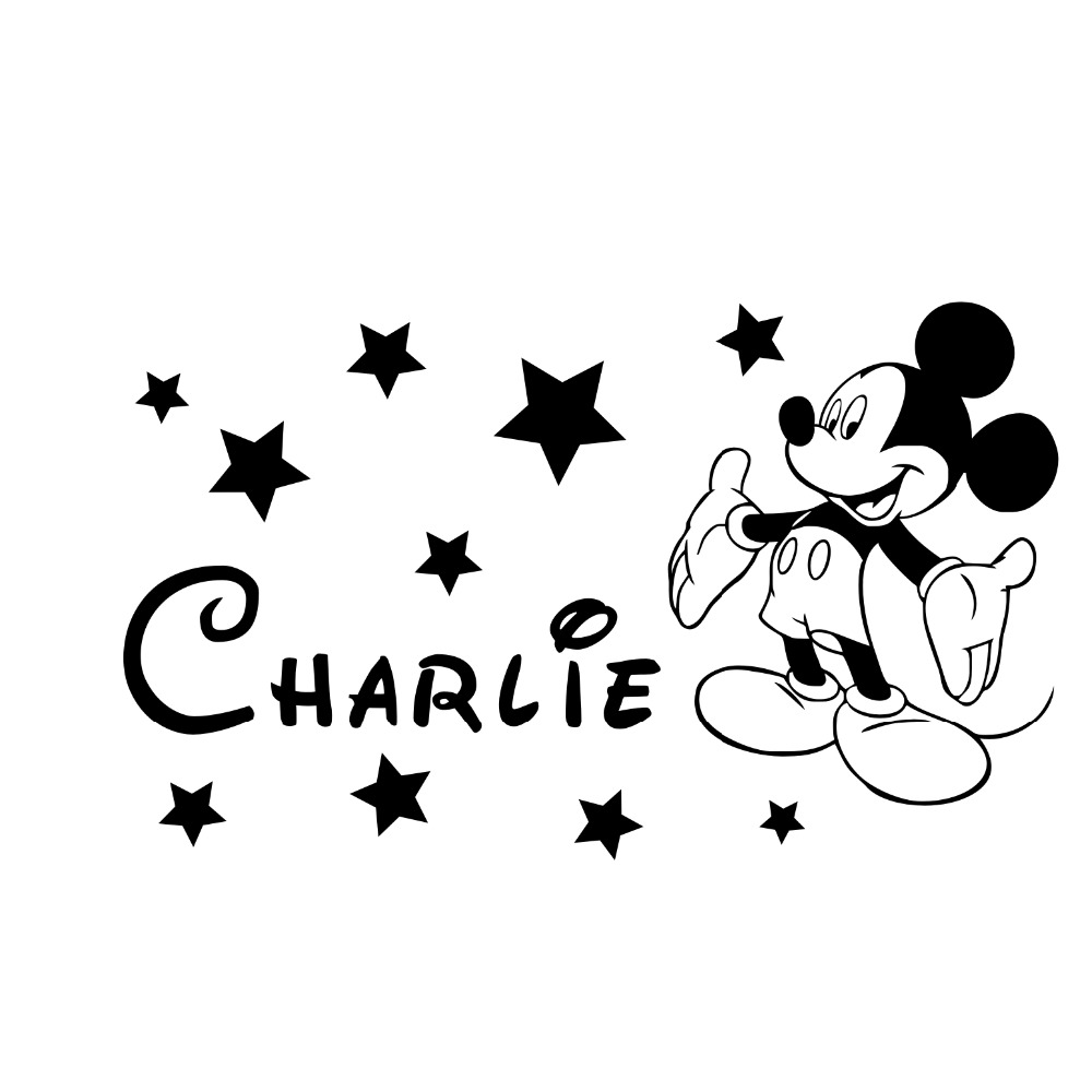 HTB1tsb9RpXXXXbiXVXXq6xXFXXXr - YOYOYU Mickey Minnie Mouse Custom Name wall sticker For Kids Room