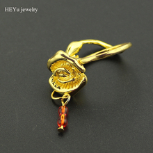 Customized Jewelry Beauty and The Beast Rose Design Engagement Ring Gold Color with Red Swing Crystal Beads women rings