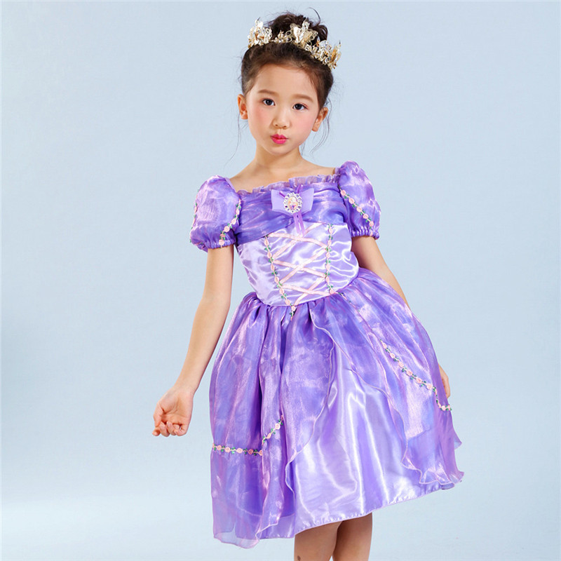 New Year Kid Aurora Cosplay Dress Summer Short Sleeve Princess Aurora Purple Dresses for Girls Party Costume Tulle Dresses 4-10Y<br><br>Aliexpress