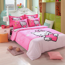 Hello Kitty Bedding Set Children Cotton Bed Sheets Hello Kitty Duvet Cover Bed Sheet Pillowcase Twin Full Queen Free(China)