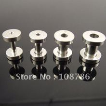 48pcs/lot free shipping ear plug stainless stee Flat Flare Screw Fit Ear Plugs flesh tunnel body jewelry mixed sizes
