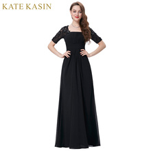 Kate Kasin Mother of the Bride Dresses for Wedding Party Elegant Half Sleeve Black Long Evening Dress 2017 Mother Bride Gowns(China)