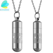 Boniskiss Men's Open Capsule Necklace Perfume Bottle Om Mani Padme Hum Buddhism Stainless Steel Bullet Pendants For Lover Gift(China)