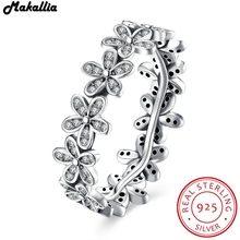 925 Sterling Silver Flowers Finger Rings Dazzling Daisy Meadow Stackable Ring, Clear CZ For Women Wedding Jewelry MAKALLIA(China)