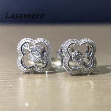 LASAMERO 0.096CT 18K White Gold Floral Hollow Filigree Natural Diamond Earrings Stud Earrings Fine Jewelry For Women(China)