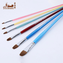Zhouxinxing Weasel hair water pink six color wood rod oil painting brush Paintbrush Set Oil Paint Wooden Round head Brush(China)