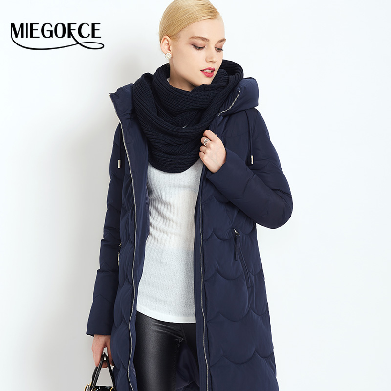 MIEGOFCE 2016 New Winter Collection Woman Down Parka with scarf Winter Warm Coat Winter Women Down Jacket high quality hot sale(China (Mainland))