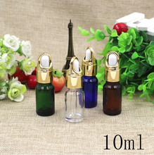 Free Shipping Top Grade 10ml Empty Glass Dropper Bottles Gold  lid New Style Parfume Essential Oil liquid Packaging Containers