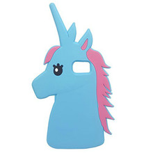 Cute 3D Cartoon Unicorn Animal Horse Soft Silicone Case Rubber Back Cover Skin for Galaxy S7 edge (Blue)