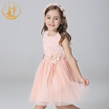 Nimble New Arrival Autumn Princess and Party Girls Dress Mesh Bow Handmade Flowers Pearls Dresses for Girls