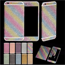 Hot Luxurious Bling Diamond Full Body Matte Decal Glitter Back Film Sticker Case Cover  For iPhone 6 6S for iPhone 6 plus