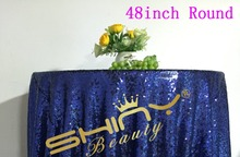 Cheap!!! Mesh Navy Blue Sequin Fabric Tablecloth For Wedding/Event/Party/Banquet/Christmas Decoraitons(China)