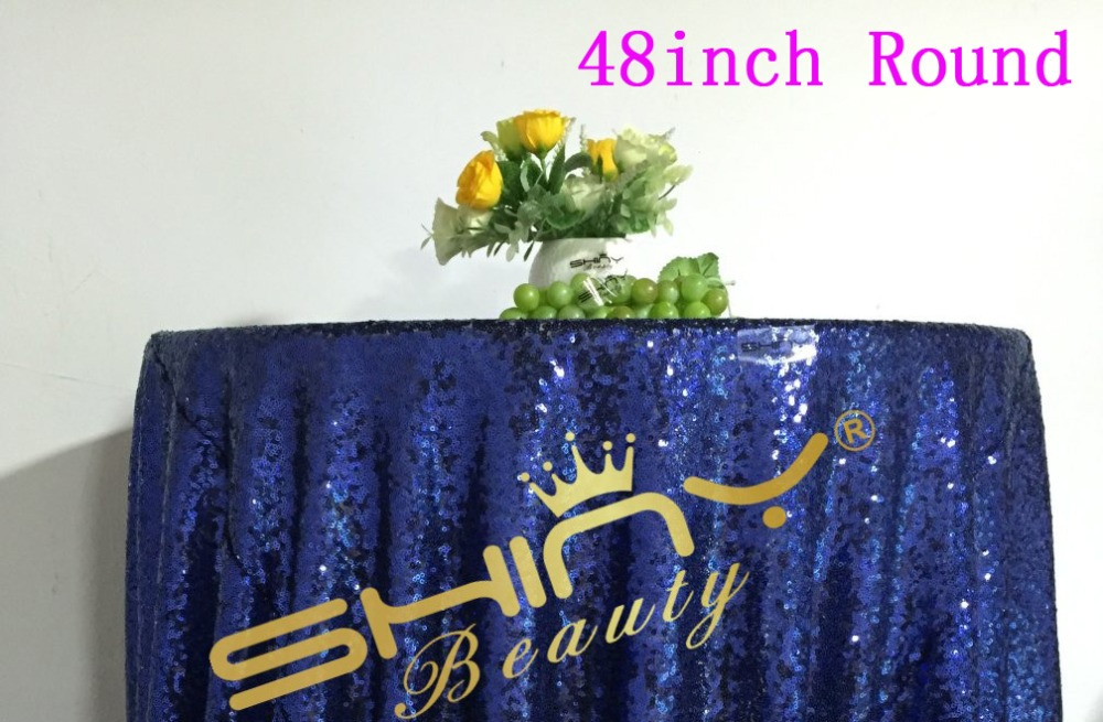 Mesh Navy Blue Sequin Fabric Tablecloth For Wedding/Event/Party