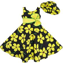 Sunny Fashion 2 Pecs Flower Girl Dress Sun hat Bow Tie Yellow Summer Beach Kids Clothing Cotton 2016 Summer Princess Size 4-12