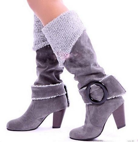 Big size 34-43 Winter Shoes Snow Boots for Women High Heels Buckle Round Toe Platform Fur Shoes Long Knee Boots AA015<br><br>Aliexpress