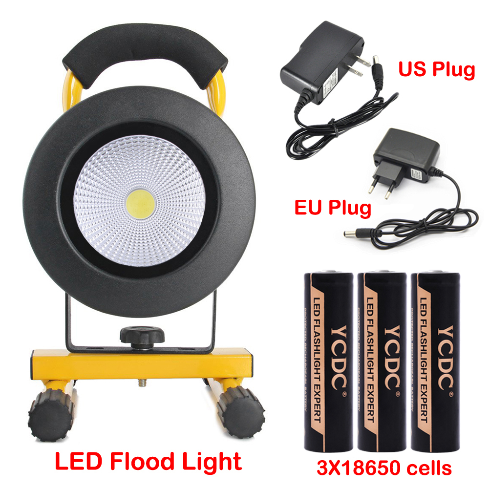 TSLEEN 30W LED Flood Light 18650 Cell Spot Lamp Camping Hiking Inspect Torch+SOS<br>