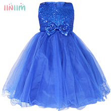 Princess Flower Girl Dress For Wedding Party High Quality Bridesmaid Kids Bow Sleeveless Trailing Lace Tulle Blue Tutu Dress