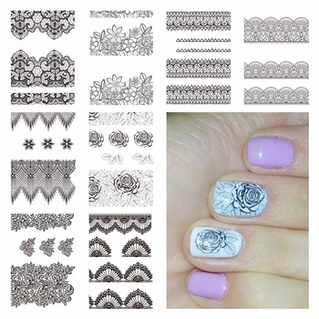YZWLE 1 Sheet Optional Black Lace Flower Designs Nail Art Water Decals Transfer Sticker For Nails