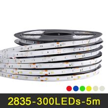 RGB LED strip light 5m 60LEDs/m SMD 2835 LED strip DC 12V IP65 Waterproof flexible Tape White Warm White Red Green Blue Yellow(China)