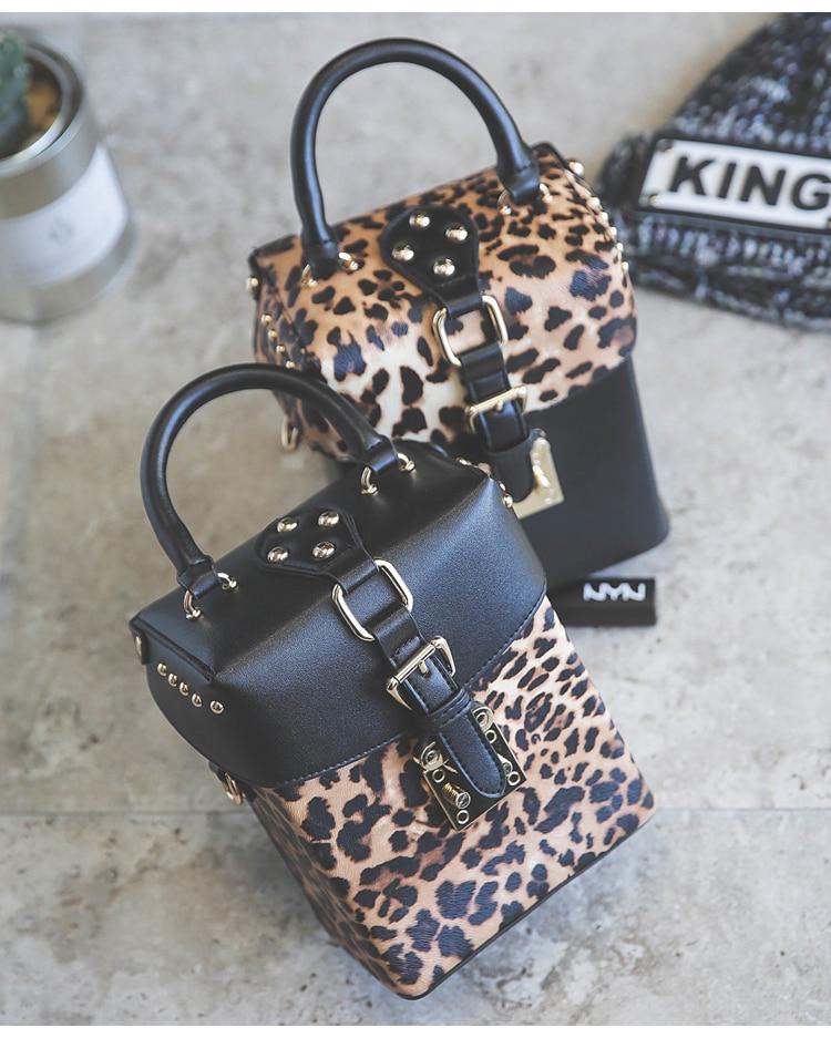Leopard print designer replica black bag
