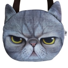 Hot Sale! New Designed Female Retro Cartoon 3D Animal Printing Shoulder Bags Cat Shape Women Handbag for Girls cat Bag,SKU 0313