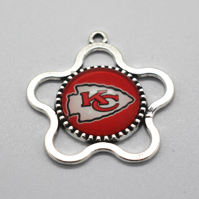 12pcs Kansas City Chiefs NFL Team Flower Necklace Pendant Football Sport Dangle Hanging Charms DIY Necklace Jewelry Pendants(China (Mainland))