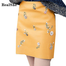Buy RealShe Women PU Leather Mini Skirt Women Europe Floral Beaded Pencil Skirt 2018 Spring Zip Back High Waist Skirts for $39.98 in AliExpress store