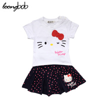 Toddler Clothing Sets Kid Cute Cartoon Hello Kitty Baby Boys Girls Summer Set (T-shirt + Skirt) Spring Sets Infant Causal Suits(China)