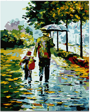 handwork gift Rain - Holding hands picture DIY acrylic paints painting by numbers vintage home decor wall art pictures E314(China)