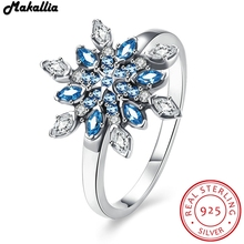 Authentic 925 100% Solid Sterling Silver Colorful snowflakes Finger Ring Original Jewelry Valentine's Day Gift for women(China)