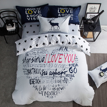 wedding bedding set i love you Summer duvet cover twin queen king size bedding cat bed linen horse flat sheet white bedclothes