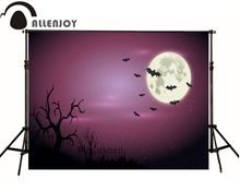 Allenjoy Photographic backdrop Moon Bat Cemetery Arrow Halloween theme vinyl camera fotografica background photography studio