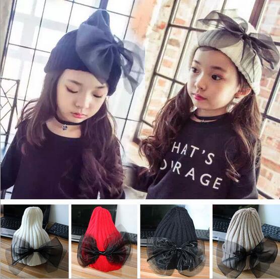 2016 New Hat Autumn Winter Big Ribbon Bows Knit Beanie Hats Fashion Kids Knitting Caps Crocheted Gorros Free ShippingÎäåæäà è àêñåññóàðû<br><br><br>Aliexpress