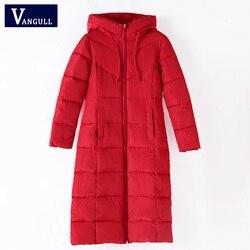 Плюс Размер 6XL Женское зимнее теплое пальто с капюшоном Тонкая хлопковая стеганая Базовая Женская куртка средней длины Верхняя одежда casaco ...