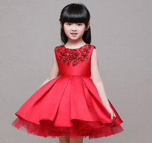 3-14T Brand Red Satin Flower Girl Dress Sequin Princess Tutu Party Wedding Dresses for Girls Christmas Style Sweet Kids Dress