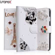 J3 Pro Wallet Stand Flip PU Leather Case For Samsung Galaxy J3 Pro J3110 J3119 Diamond Shockproof Cover Rhinestone Phone Bags