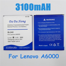 3100mah Bl242 Bl 242 Battery For Lenovo A6000 A6010 A3860 A3580