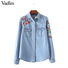 Women sweet flower embroidery denim shirts pockets long sleeve turn down collar blouse female casual brand tops blusa LT1830(China)