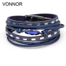 VONNOR Bracelets Multi-layer Winding Wrap Leather Bracelet Fashion Women Hand Jewelry Summer Accessories for Female(China)