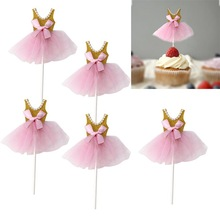 Cupcake Topper Decor Ballerina-Skirt Party-Supply Girls Birthday Princess Glitter Picks