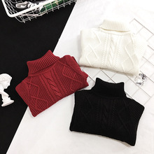 2-7years 2017 Kids childrens casual solid red white black turtleneck Knit Sweater ( pick color size )(China)