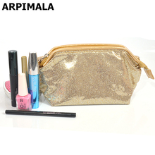 2017 New Gliter Cosmetic Bag Luxury Designer Makeup Bag Shiny Sequins Travel Organizer Women Girl Beauty Case Necessaries Pouch(China)