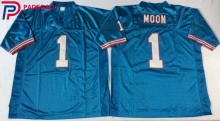 Embroidered Logo Retro star #1 Warren Moon FOOTBALL JERSEY white blue for fans gift cheap(China)