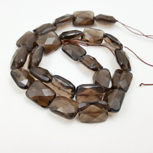 Lii Ji Grade A Natural Stone Smoky Quartz Square Shape Faceted Beads Approx 12x16mm/15x20mm/20x30mm DIY Jewelry Market