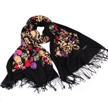 women cashmere scarf embroidered national fall winter girl shawl Embroidery Blended Cashmere Sarong Wrap neckerchief Scarves(China)
