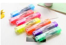 7 psc/lot Candy Colour Oblique Tip Marker Highlighters Fluorescent Pen Kawaii Stationery Office School Supplies