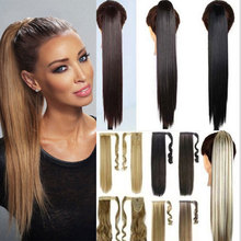"26"" Synthetic Hair Long Straight Clip In Ribbon Ponytail Hair Extensions Hairpiece Fake Hair pony Tails ponytails hair pieces"