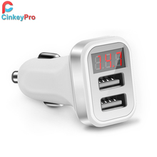 CinkeyPro Car Charger For iPhone iPad Samsung LED Screen 2-Port USB Smart Car-Charger Adapter 2A Mobile Phone Adapter Charging